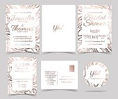 Set of Wedding invitation Card Marble style.Rose Gold color tone.