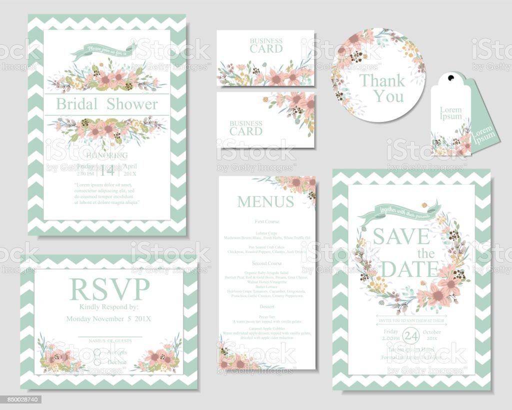 Set Of Wedding Invitation Card Mint And Pink Color Spring