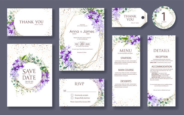 Set of wedding Invitation card, save the date, thank you, rsvp template.  Wreath , Petrea volubilis flower. Set of wedding Invitation card, save the date, thank you, rsvp template. Vector. Purple Wreath , Petrea volubilis flower. purple stock illustrations