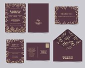 Set of Wedding invitation Card Template.Baby's Breath Collection.RSVP Card.Red and Golden Tone.Vector/Illustration
