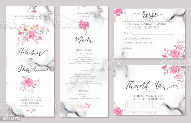Set of wedding invitation card templates with watercolor rose flowers vector id992033470?b=1&k=6&m=992033470&s=612x612&h=zbjzeqbme8gbogqtzqwojozmkscs6peqwxkhhon 7va=