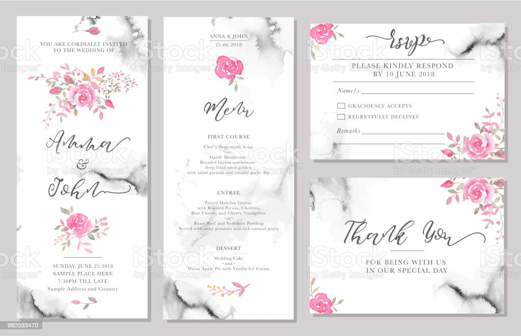 Set of wedding invitation card templates with watercolor rose flowers. vector art illustration