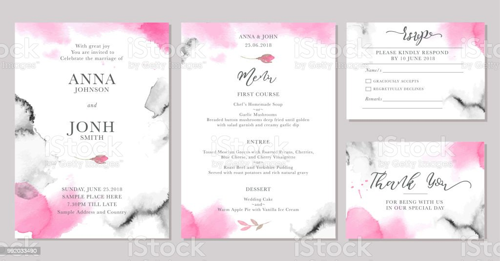 Set Of Wedding Invitation Card Templates With Watercolor Rose Flowers Royalty Free