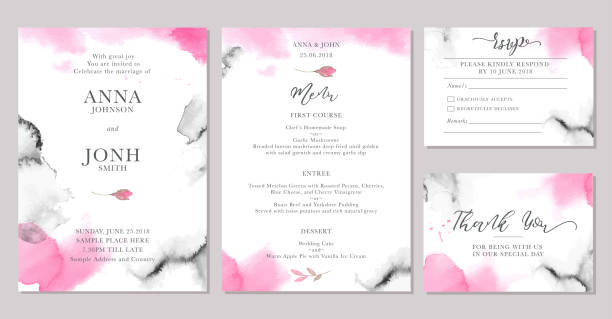 Set of wedding invitation card templates with watercolor rose flowers. Set of wedding invitation card templates with watercolor rose flowers. Elegant romantic layout with pink roses and message for wedding greeting, Save the date cards, rsvp, menu, thank you wedding invitation stock illustrations