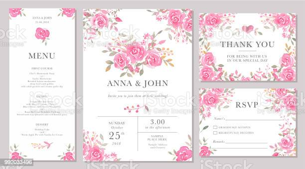 Set of wedding invitation card templates with watercolor rose flowers vector id992033496?b=1&k=6&m=992033496&s=612x612&h=nw3qz6k32rcws8l2ffu99zcjl6or8aghodoeruvb3da=