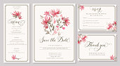Set of wedding invitation card templates with watercolor pink dahlia. Elegant romantic layout with loose flowers and message for wedding greeting, Save the date cards, rsvp, menu, thank you