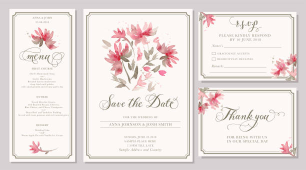 Set of wedding invitation card templates with watercolor stylized pink dahlia Set of wedding invitation card templates with watercolor pink dahlia. Elegant romantic layout with loose flowers and message for wedding greeting, Save the date cards, rsvp, menu, thank you wedding invitation stock illustrations