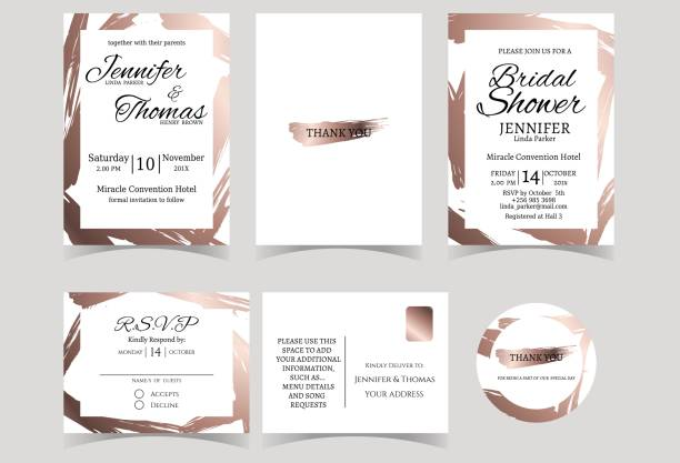 set of wedding invitation card with rose gold color tone. - wedding fashion stock illustrations, clip art, cartoons, & icons