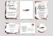 Set of Wedding Invitation Card with Rose Gold Color tone.