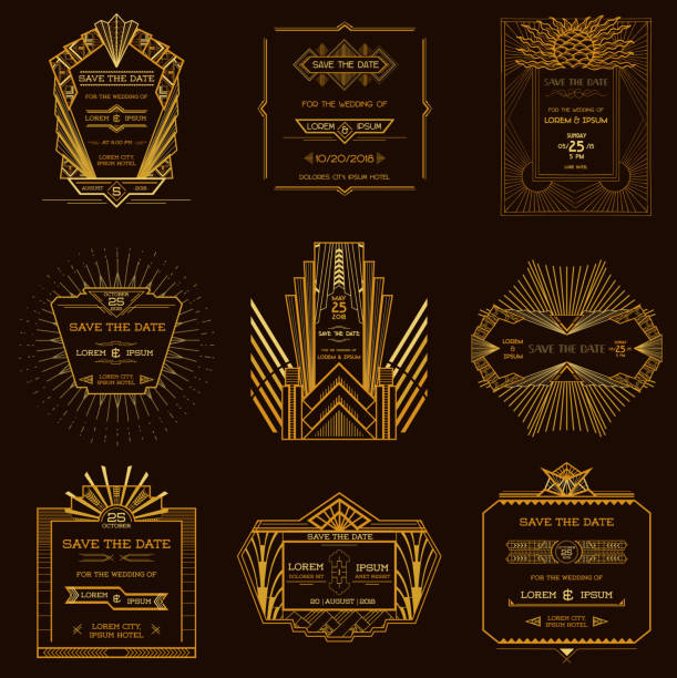 set of wedding invitation cards - art deco style - art deco stock illustrations, clip art, cartoons, & icons