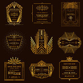 Set of Wedding Invitation Cards - Art Deco Style