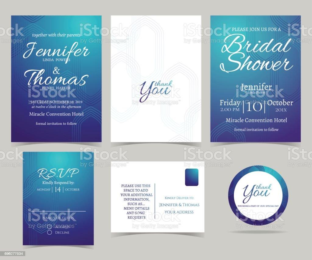 Set Of Wedding Invitation Cardsdeep Blue Color Tone And Modern – Modern Invitation Cards