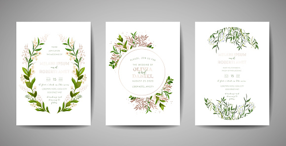 Set Of Wedding Invitation Floral Invite Thank You Rsvp Rustic Card