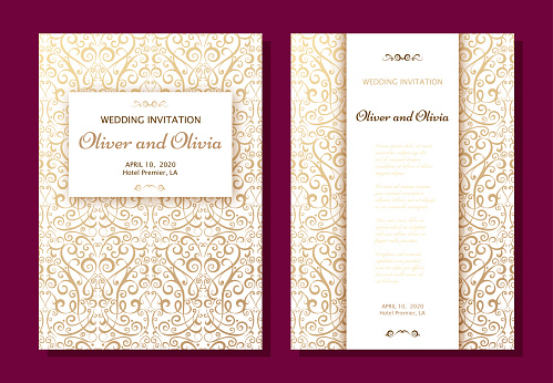 Set of wedding invitation templates. Cover design with gold Damask ornaments