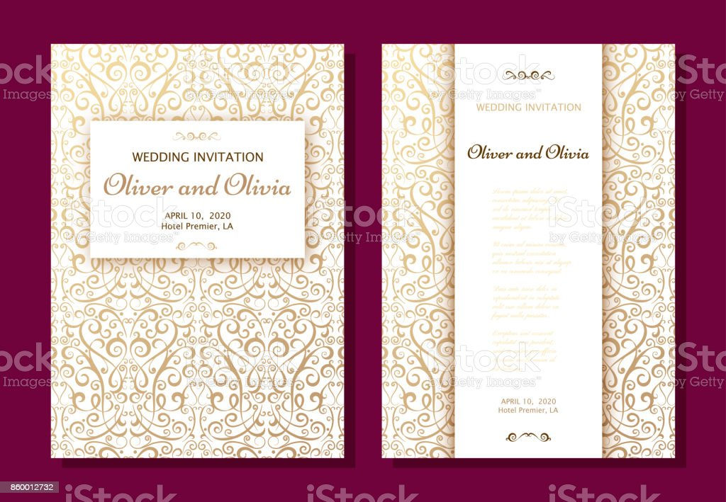 Set of wedding invitation templates. Cover design with gold Damask ornaments vector art illustration