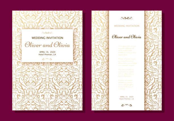 set of wedding invitation templates. cover design with gold damask ornaments - wedding backgrounds stock illustrations, clip art, cartoons, & icons