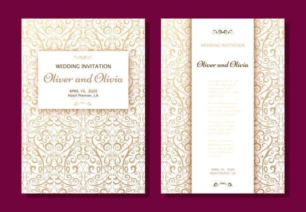 Satz von Hochzeit Einladung Vorlagen. Einbandentwurf mit Goldornamenten Damast – Vektorgrafik