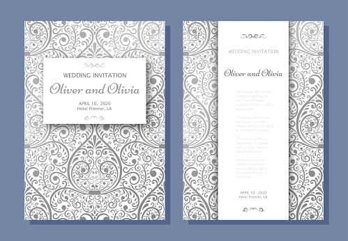 Set of wedding invitation templates. Cover design with silver Damask ornaments