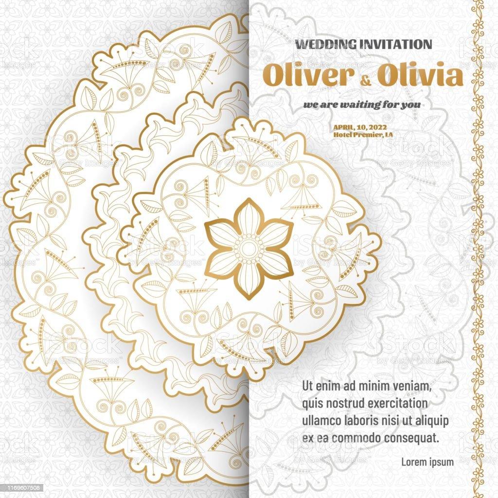 Set Von Hochzeit Einladung Vorlagen Mit Floralen Paisley Und