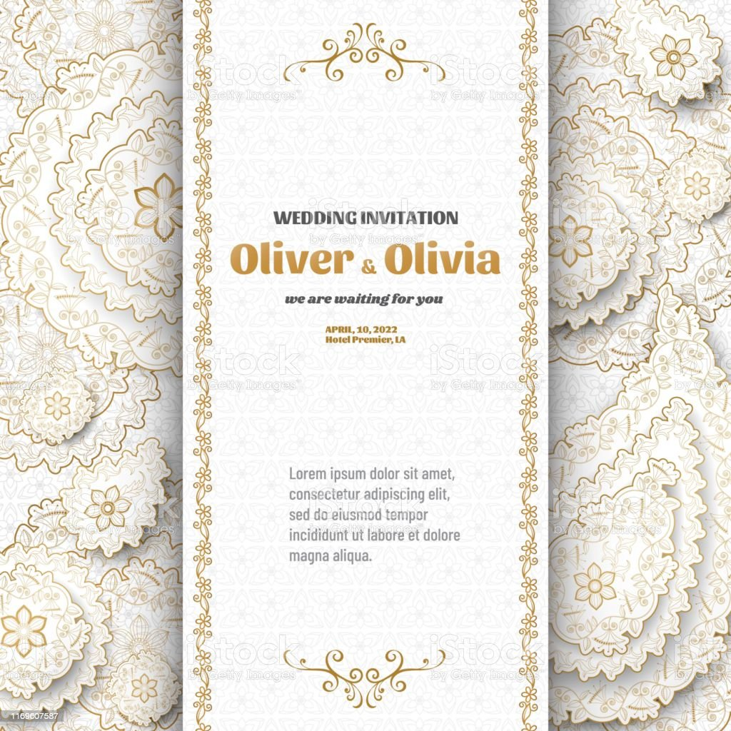 Set Of Wedding Invitation Templates With Floral Paisley And Mandala Flower  And Leaves Patterns Golden Ornaments Vector Illustration Stock Illustration  - Download Image Now - iStock