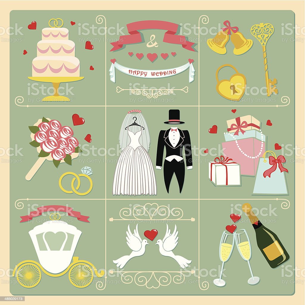 Set of wedding invitation vintage design elements,icons vector art illustration