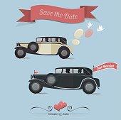 Set of wedding invitation vintage design elements. Retro car. Jst married