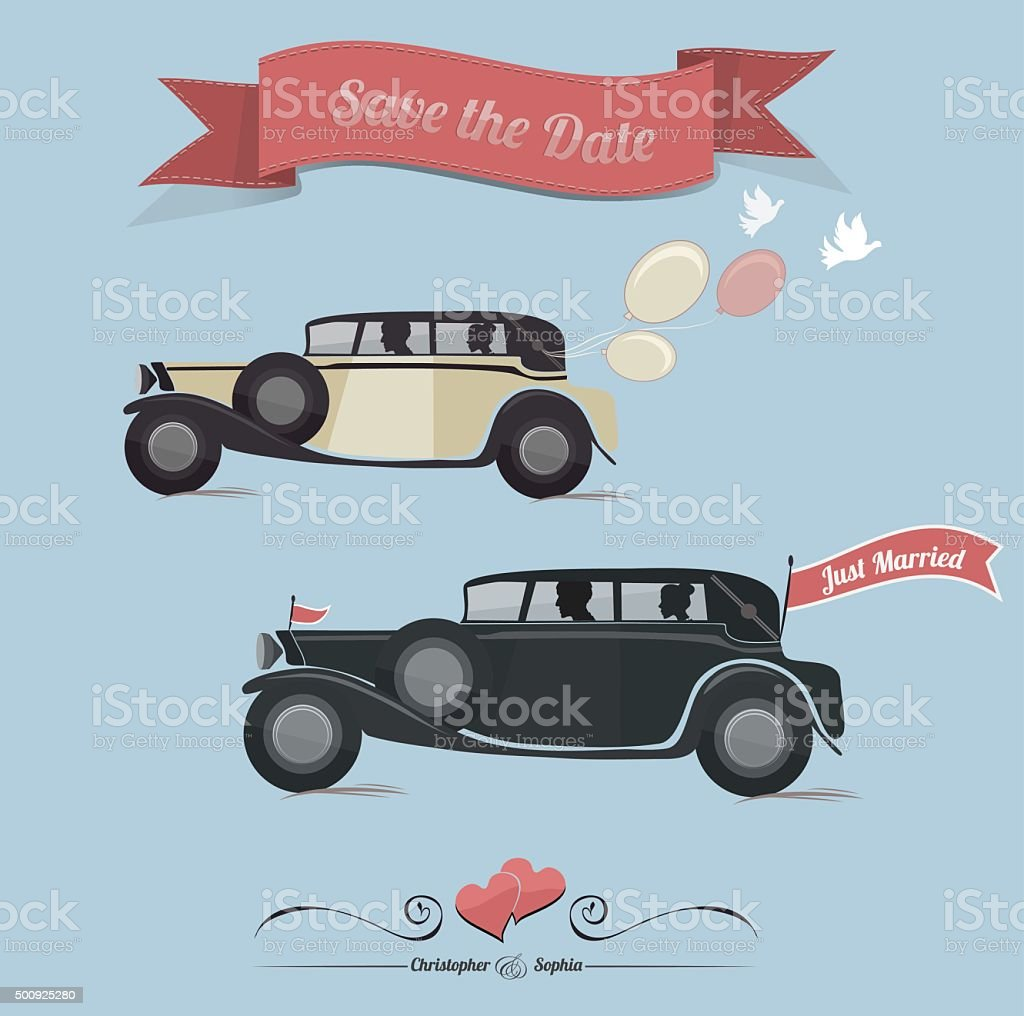 Set Of Wedding Invitation Vintage Design ElementsPrint vector art illustration