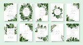 Set of wedding invitation with greenery tropic exotic summer card save the date envelope rsvp menu table label design with tropical fan palm leaf monstera. Botanical elegant decorative vector template