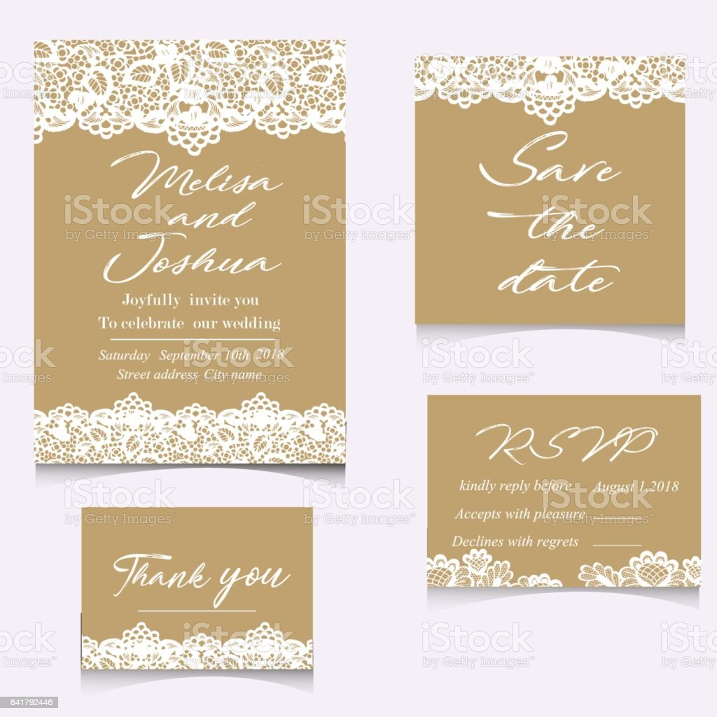 Set of wedding invitations and announcements with vintage lace vector art illustration