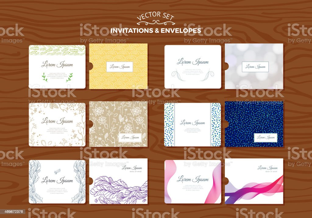Set of wedding invitations with envelopes stock vector art 469872376 set of wedding invitations with envelopes royalty free stock vector art stopboris Image collections