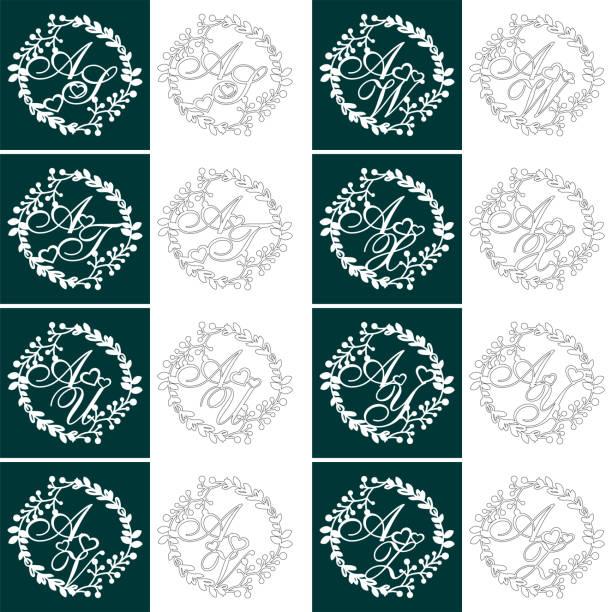 set hochzeit monogramme für das laserschneiden. dekorative logo von initialen in der hochzeits-monogramm mit einem floralen rahmen. das perfekte geschenk zum hochzeitstag oder valentinstag. laser geschnitten. - monogrammarten stock-grafiken, -clipart, -cartoons und -symbole