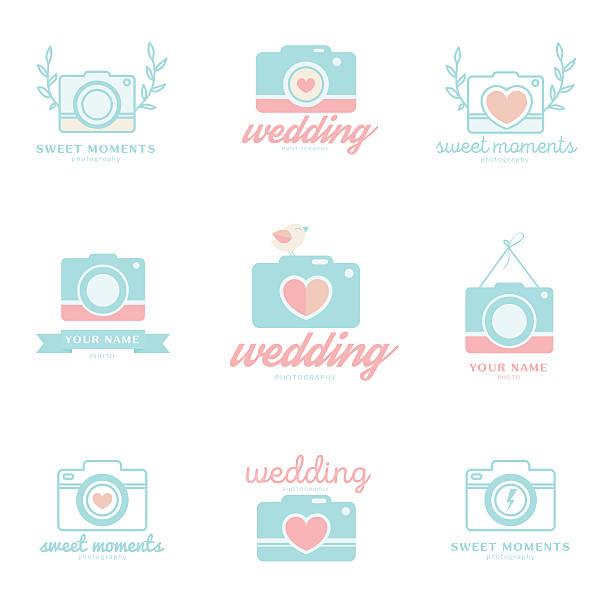 set of wedding photo emblems - wedding photographer stock illustrations