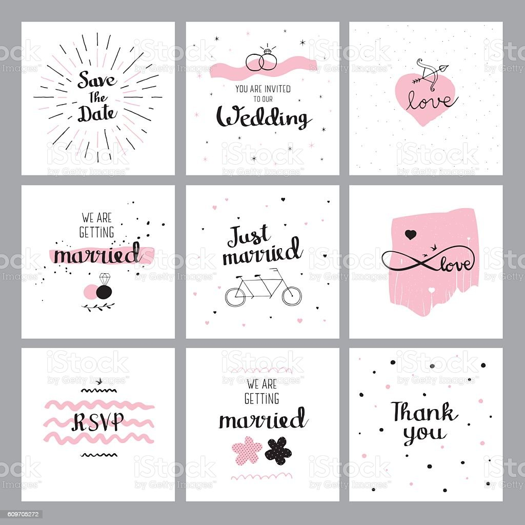 Set of wedding quotes vector art illustration