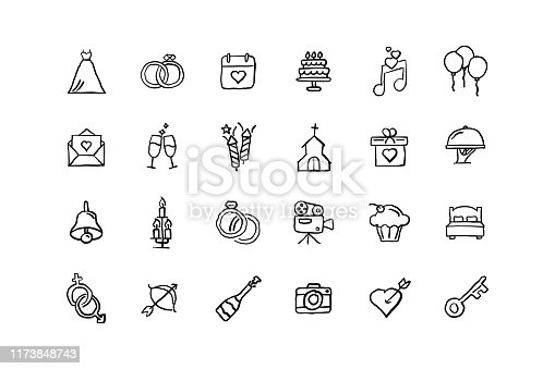 Set of Wedding related objects and elements. Hand drawn vector doodle illustration collection. Hand drawn icon set.