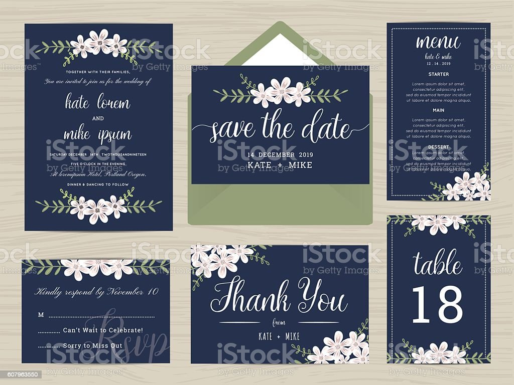 Set of wedding suite template decorate with flower wreath. vector art illustration