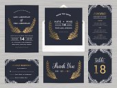 Set of wedding suite template decorate with flowers in navy blue color includes save the date, wedding invitation, wedding menu, RSVP, thank you card, table number - Vector illustration.