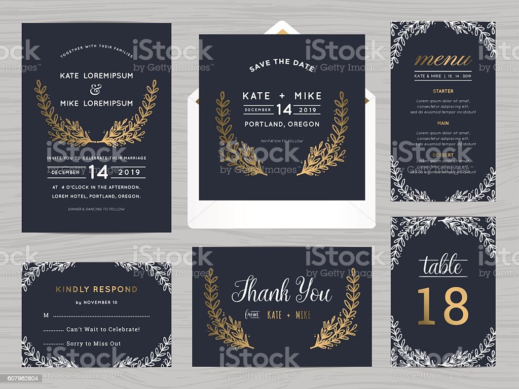 Set of wedding suite template with flowers in navy blue. vector art illustration