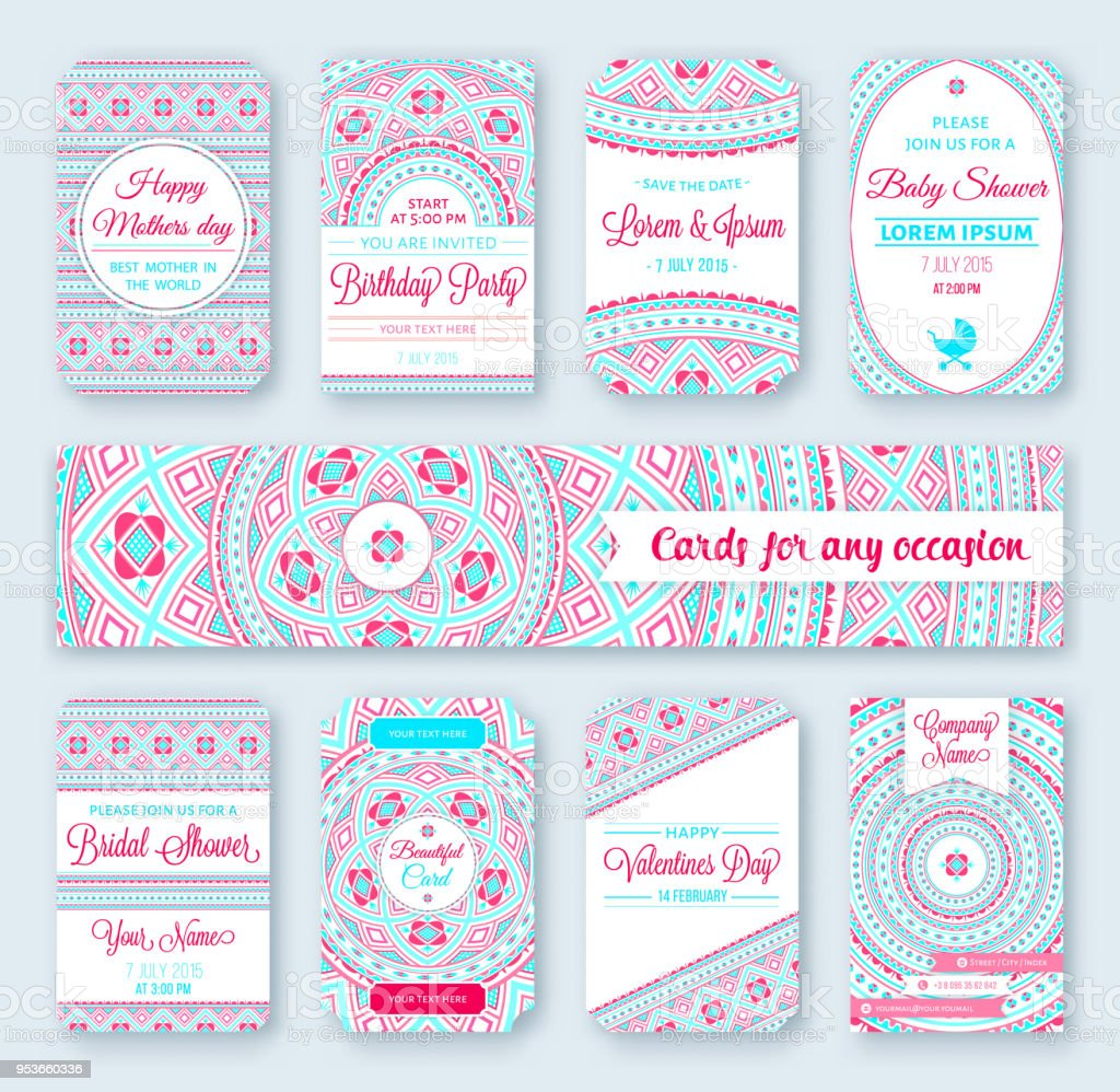 Set Of Wedding Templates Birthday Cards Tribal Theme Ideal For Save