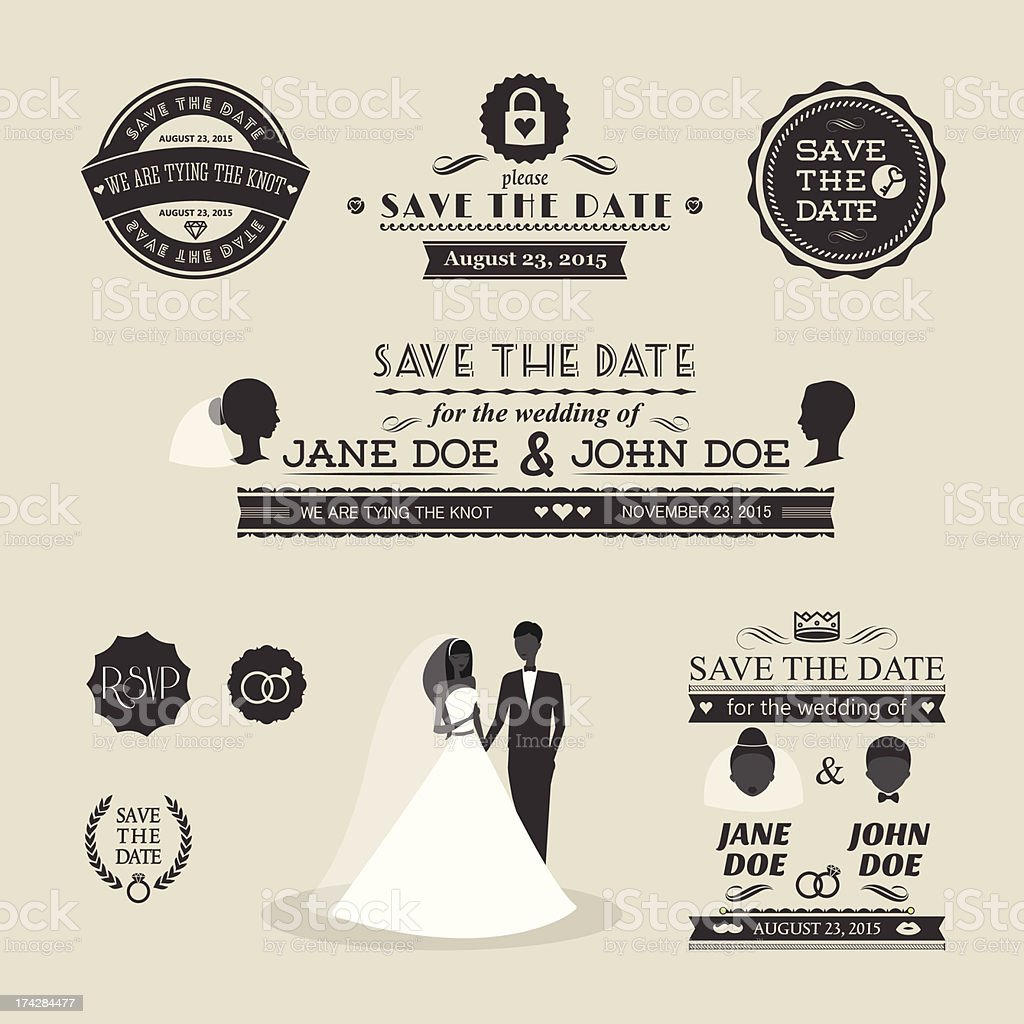 Set of wedding typography vector art illustration