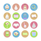 Set of Wedding Vector Icons in Flat Design