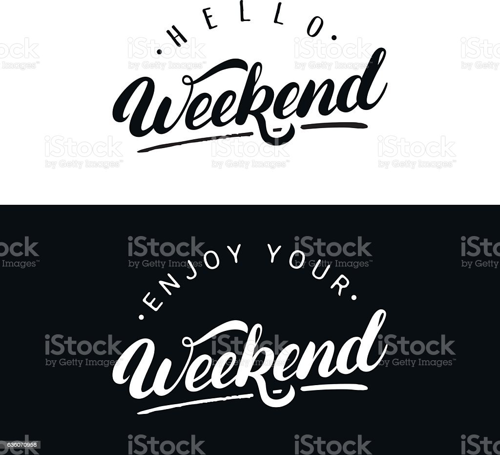 Set of weekend hand written lettering. vector art illustration