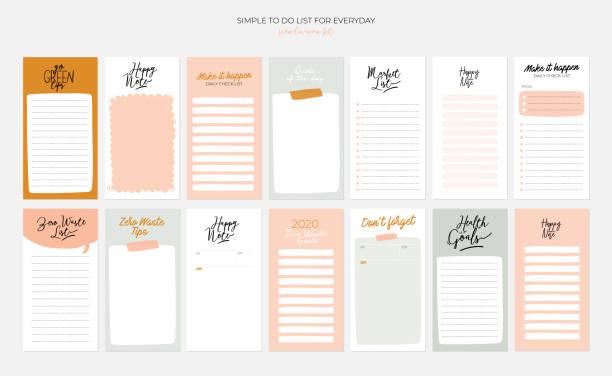zestaw cotygodniowych planistów i listy do robienia z ilustracjami zero waste i modnymi napisami. - notes stock illustrations
