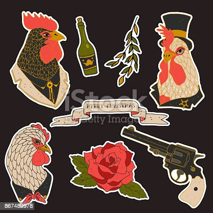 Set of western hen patches elements. Set of stickers, pins, patches and handwritten notes collection in cartoon 80s-90s comic style.Vector stikers kit