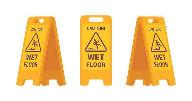 set of wet floor sign - nass stock-grafiken, -clipart, -cartoons und -symbole