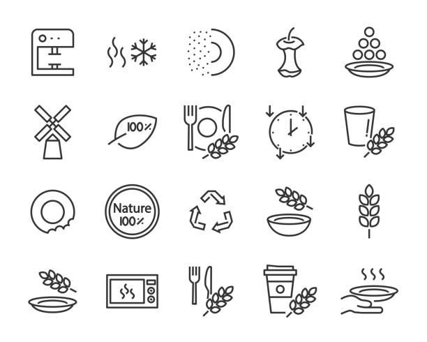 ilustrações de stock, clip art, desenhos animados e ícones de set of wheat bran tableware icons, such as process, bowl, bite, product, nature, plate made form wheat bran - eating