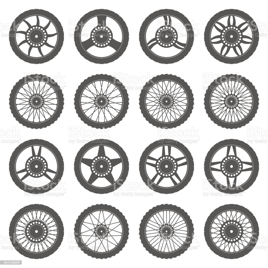 Set of wheels for motorcycles vector art illustration