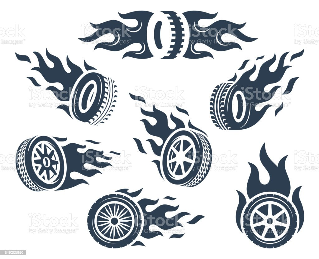 Set of wheels silhouettes with fire flame vector art illustration