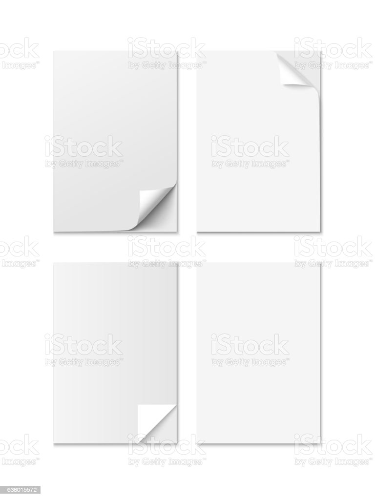 Set of White A4 size paper sheet with different curled vector art illustration
