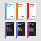 set of white and black price table templates with a colored stem in origami styles. Templates of banners for web sites.