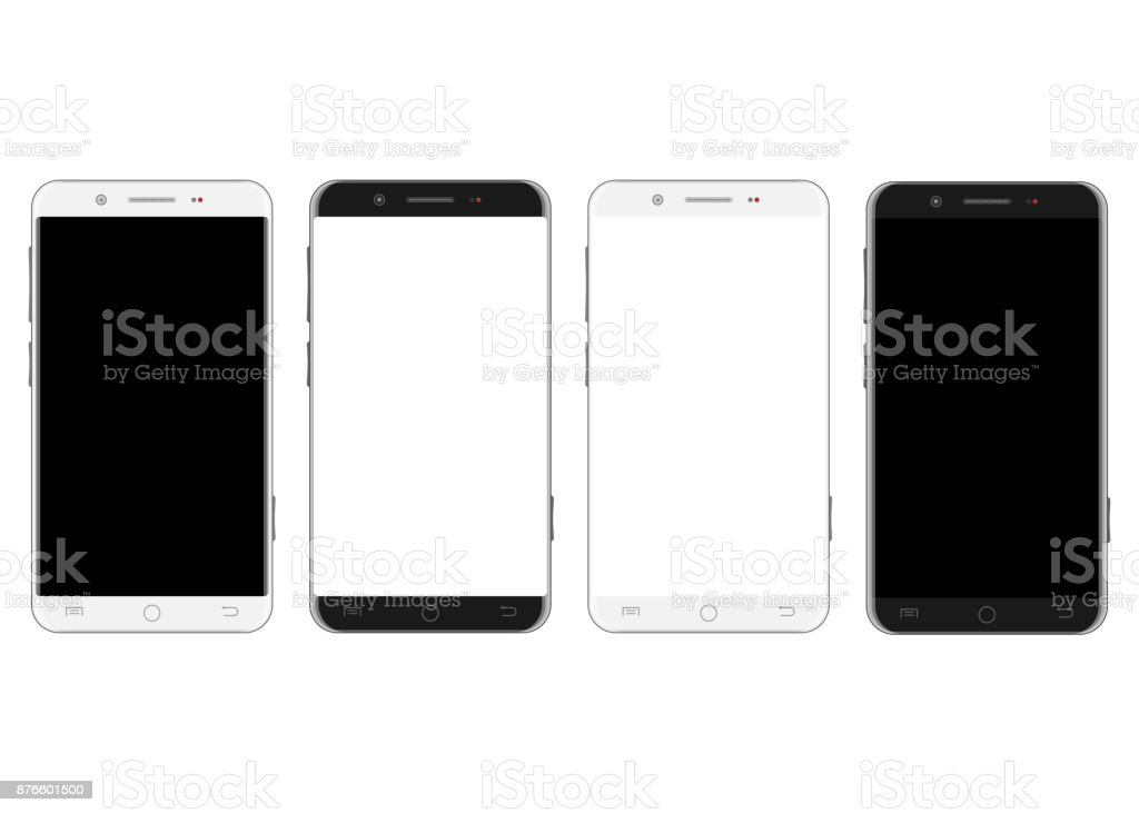 Set of white and black smartphones vector art illustration